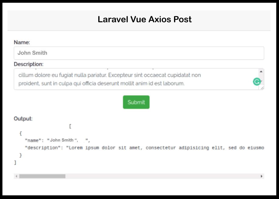 Laravel Vue JS Axios Post Request
