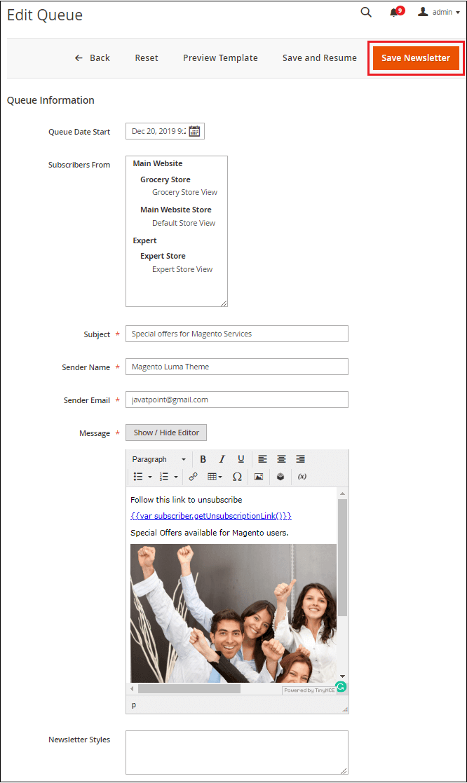 Magento Setup Newsletter