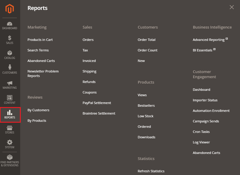 Reports in Magento 2