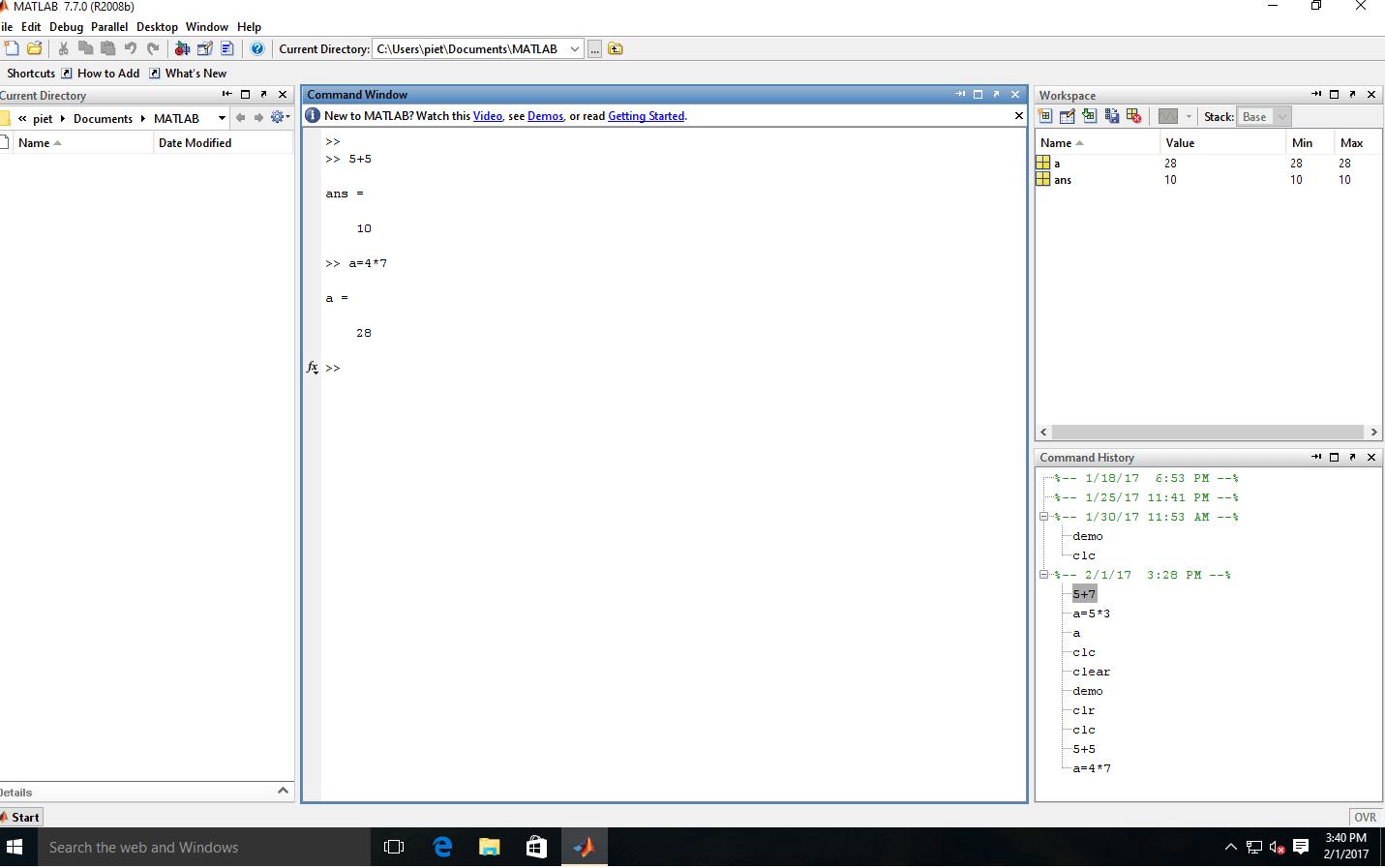 MATLAB Programming Environment