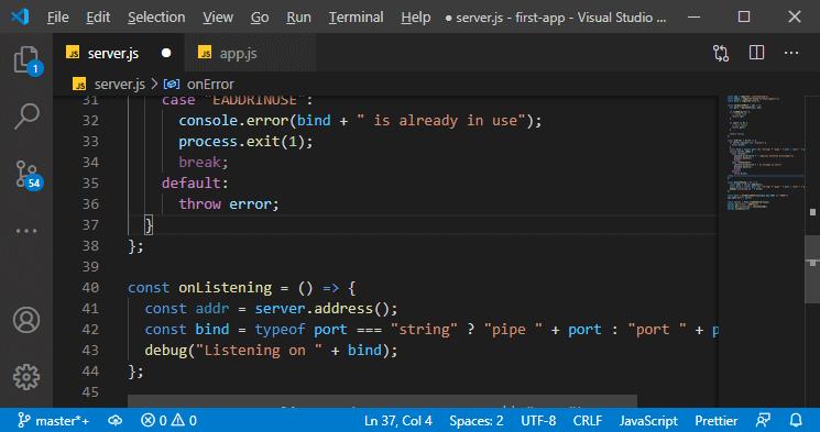 Adding error handling in server.js in MEAN Stack