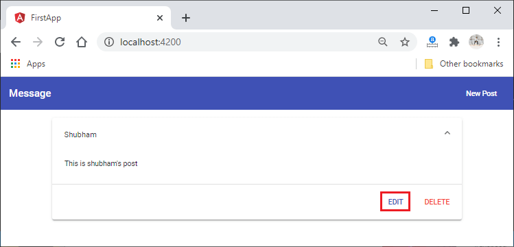 Edit Data into the Database MEAN Stack