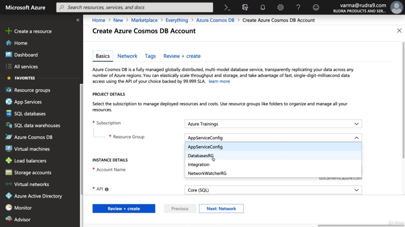 Azure COSMOS Database