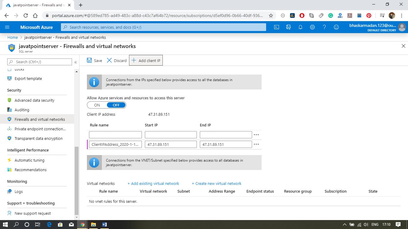 Azure SQL Database Configuration