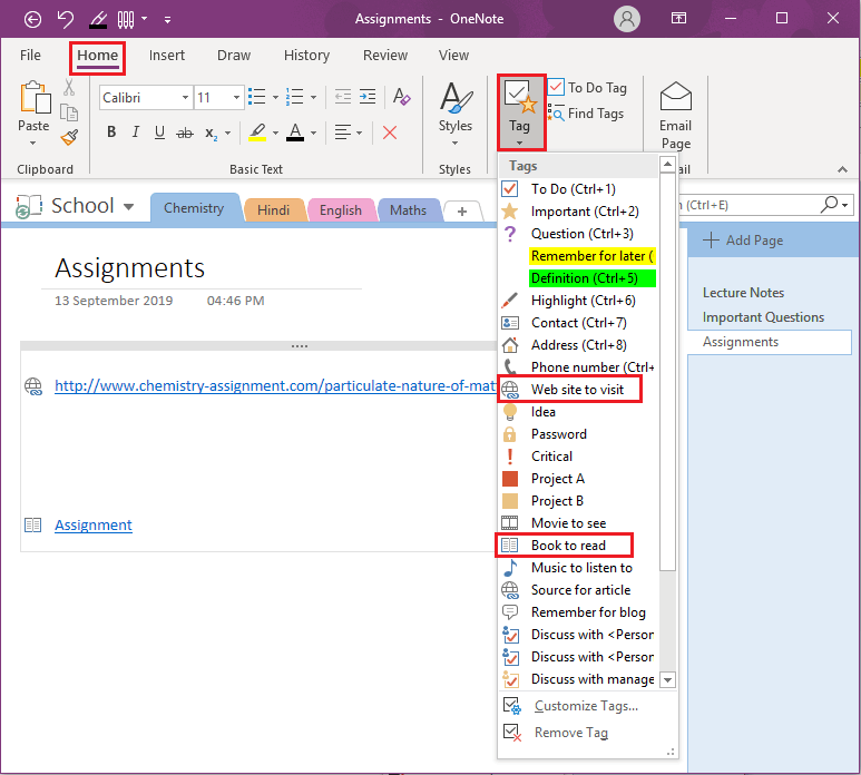 How to add tags in OneNote