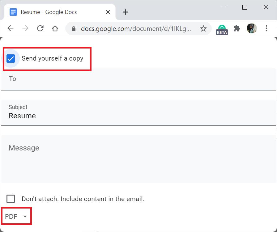 Convert Google Doc into PDF