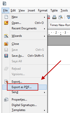 Convert ODT to PDF