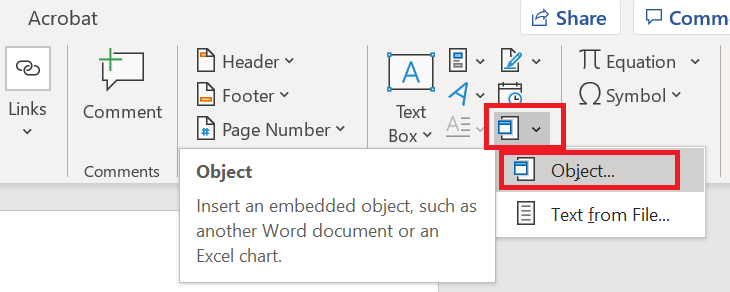 Insert PDF into Word File
