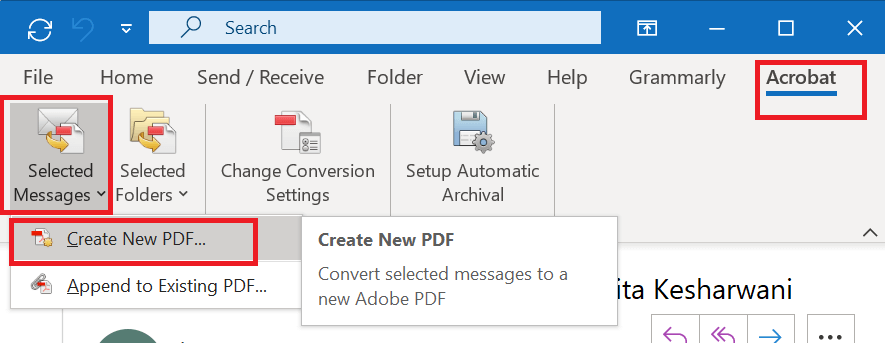 Save Email in PDF