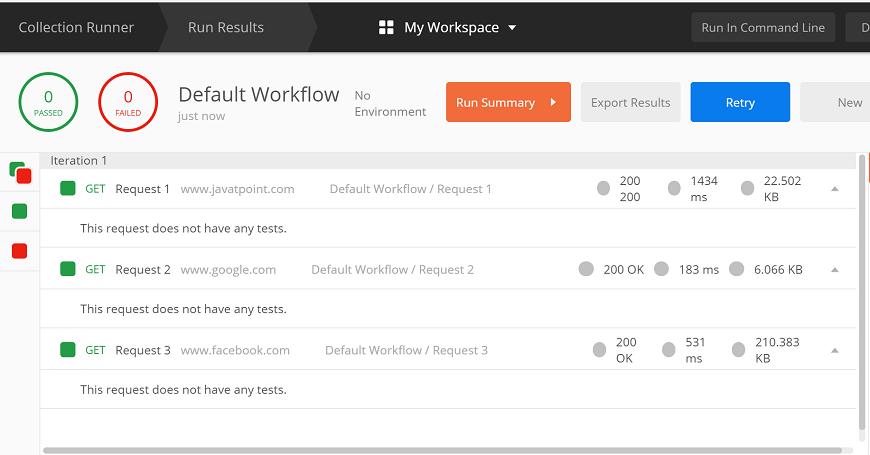 Workflows in Postman