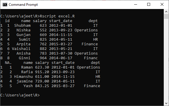 R Excel file