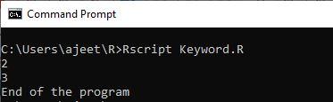 R Programming Keywords