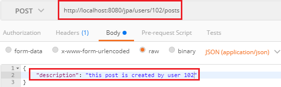Implementing POST Service to Create a Post for a User