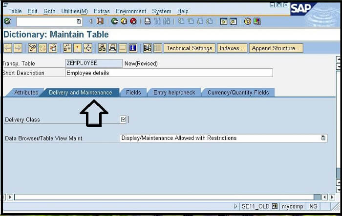 Creating the First table in ABAP Dictionary