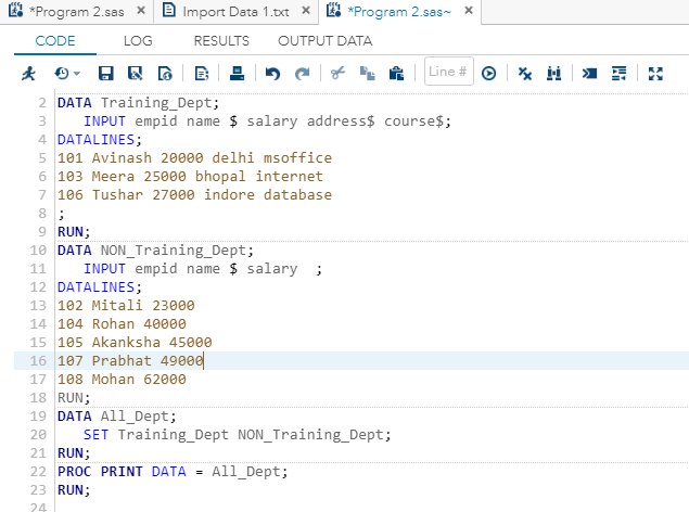 Concatenate Multiple Data sets