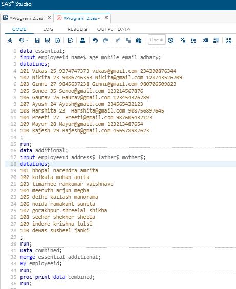 SAS Merge Dataset