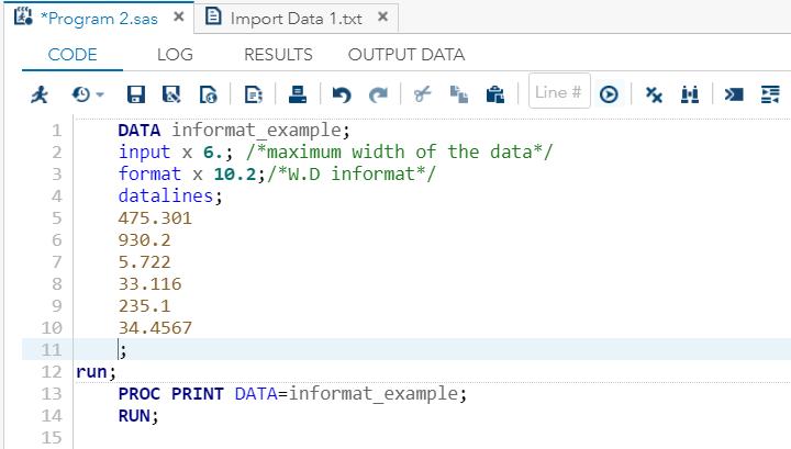 SAS Numeric Data Format