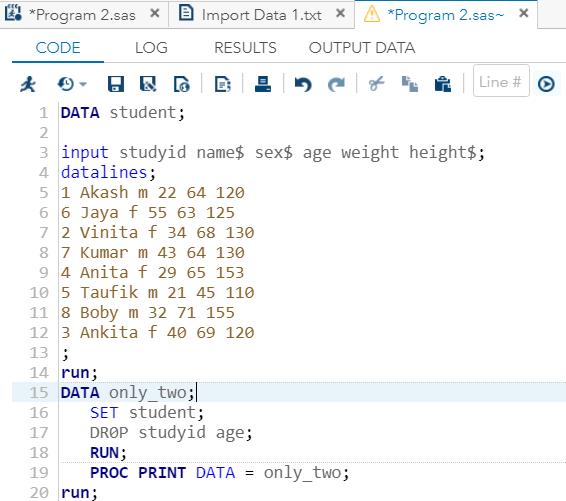Sub-setting of data set