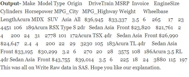 Write Data-sets in SAS