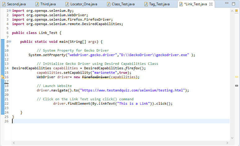 Selenium Webdriver Locating Strategies By Link Text - javatpoint
