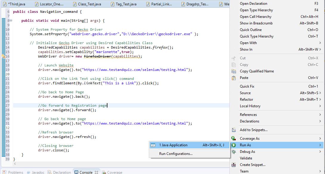 Selenium WebDriver - Navigation Commands
