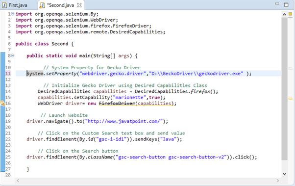 Selenium Webdriver Running Test on Firefox Browser Gecko