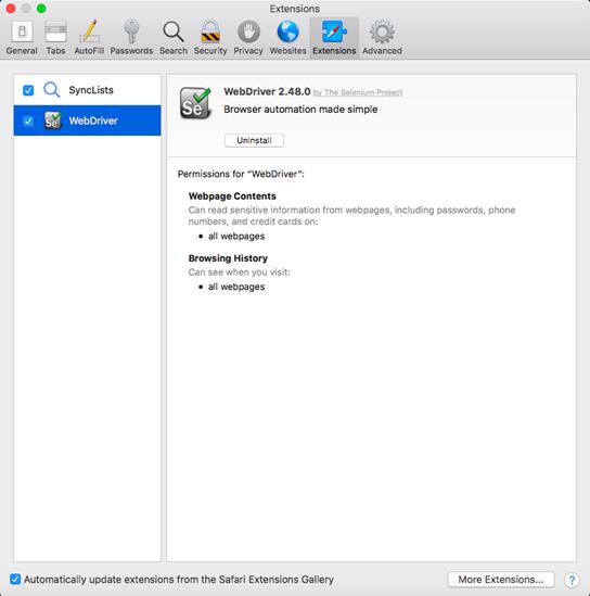 Selenium WebDriver Running test on Safari Browser