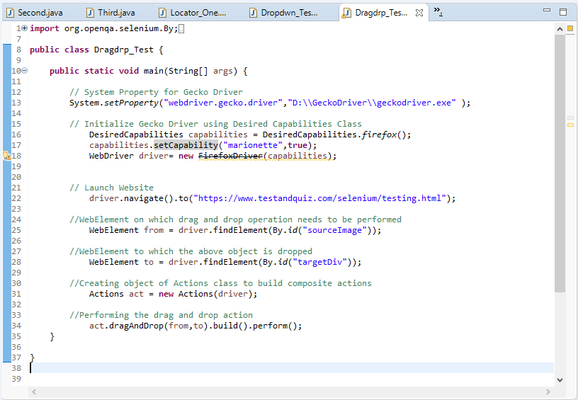 Selenium WebDriver- Drag and Drop