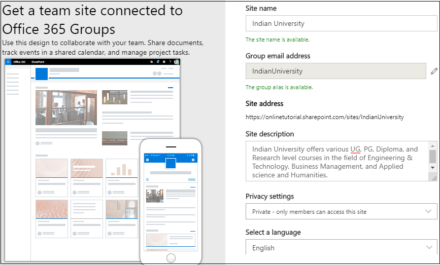 Create a site collection in SharePoint 6