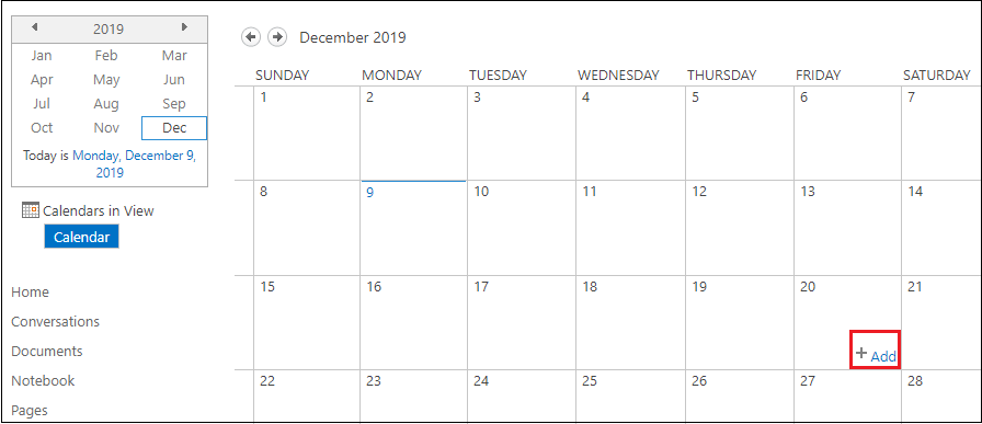 Create a Calendar in SharePoint