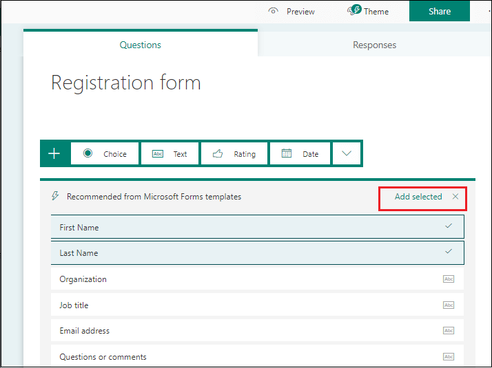 Create Microsoft FORMS in SharePoint