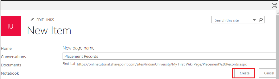 Creating a Wiki page Library in SharePoint