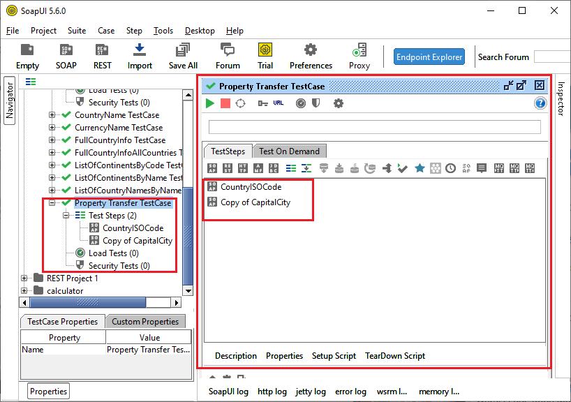 SoapUI Property Transfer