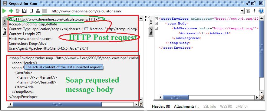 SoapUI Response and Logs Pane
