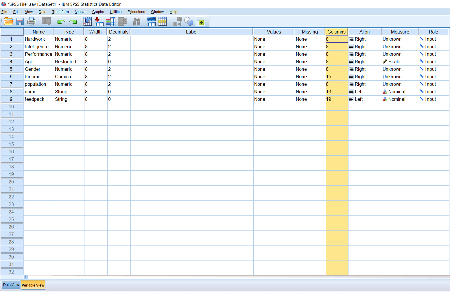 Columns and Alignment in SPSS