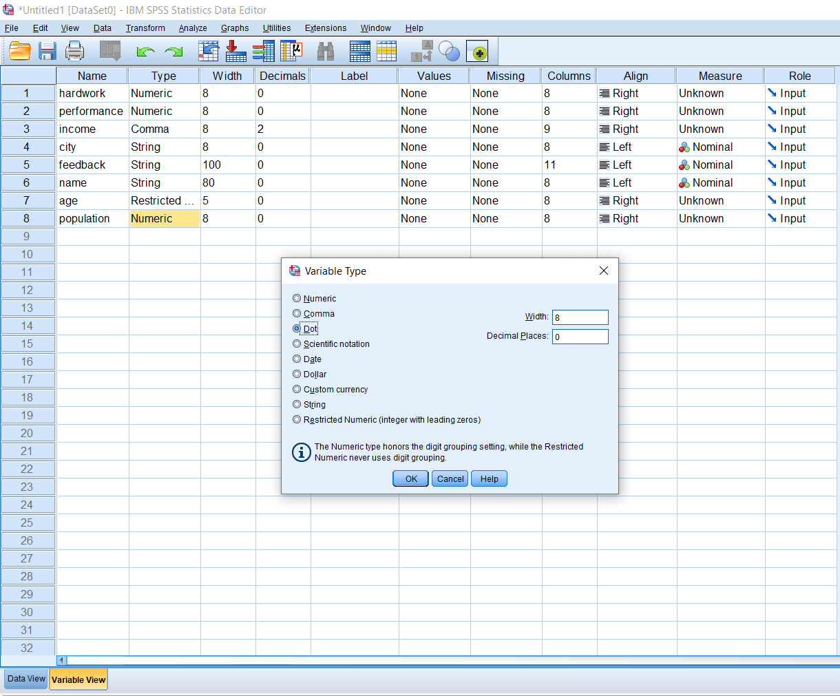 Comma and Dot Variable in SPSS