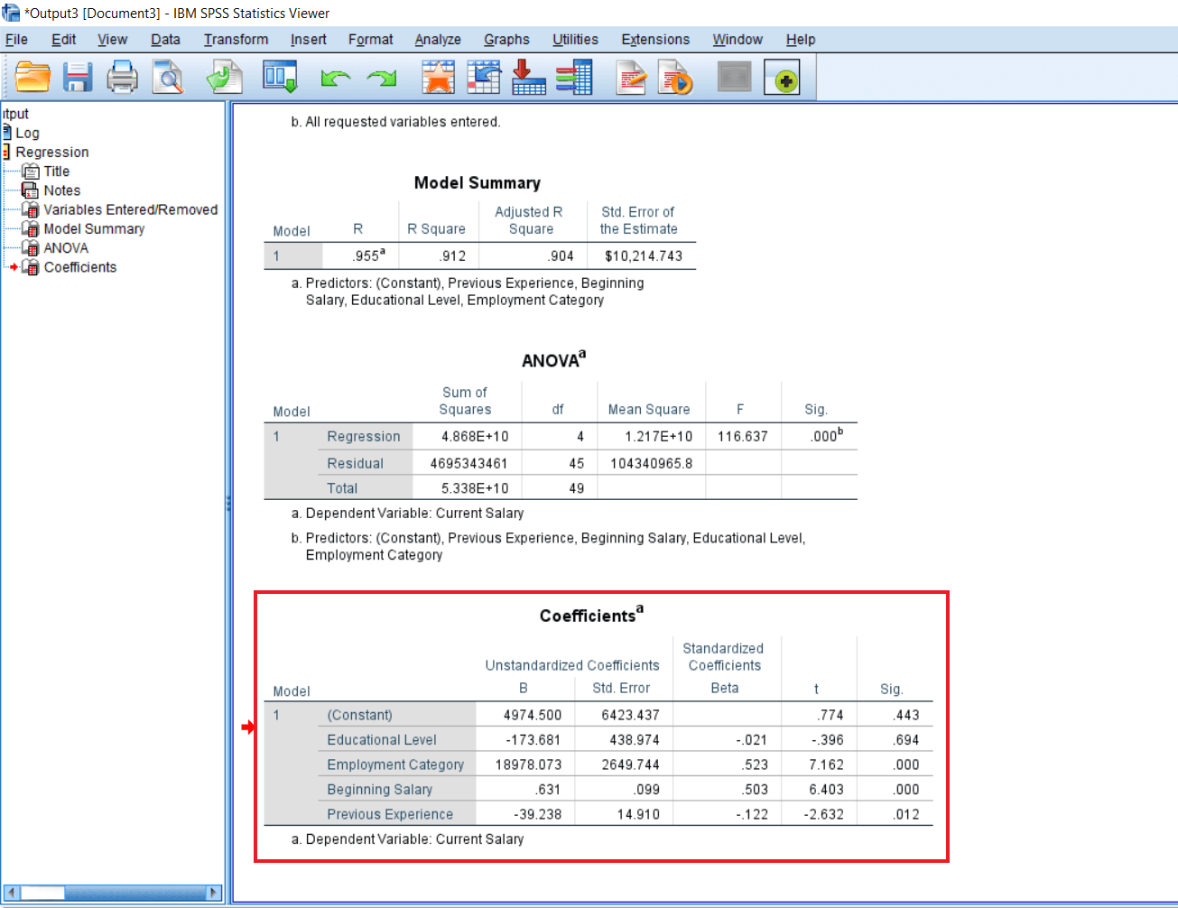 Enter method of Multiple Regression