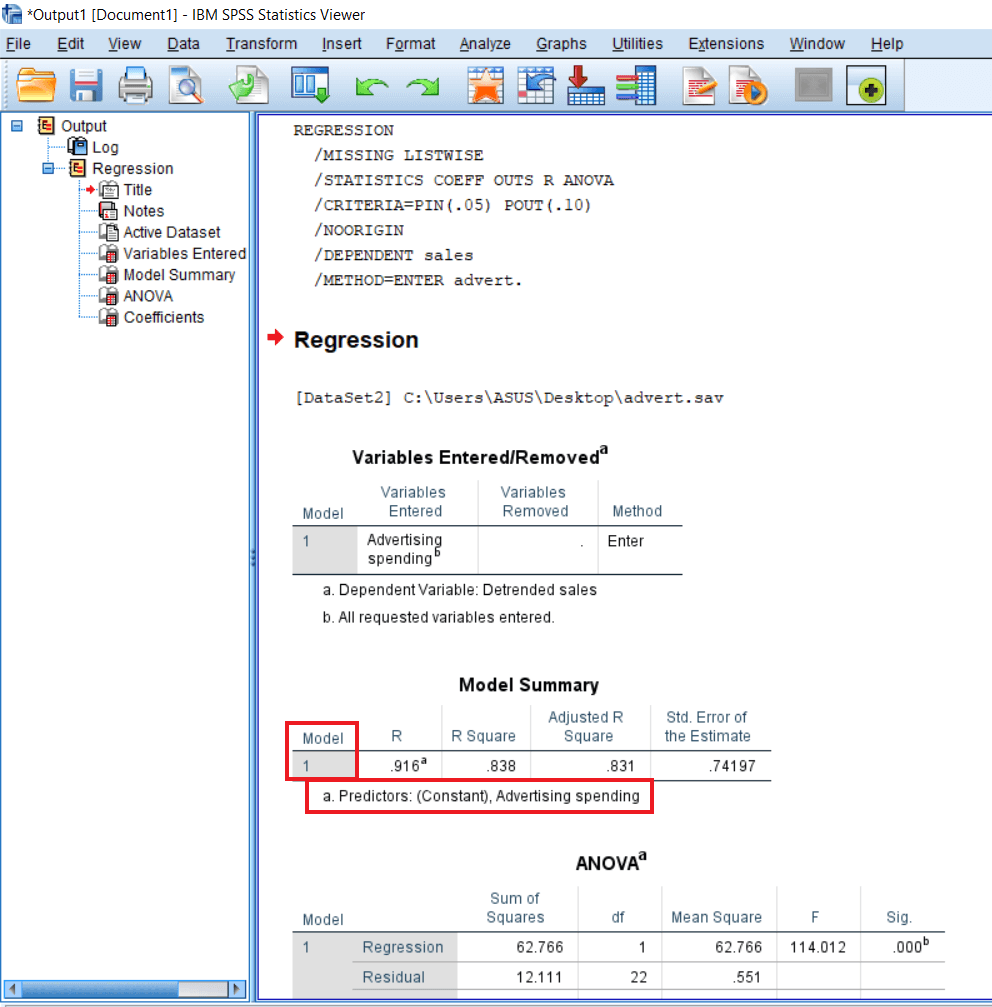 Output of Linear Regression