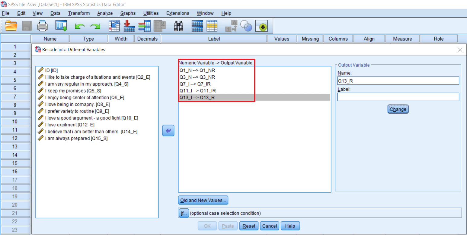 Recode into Different Variable in SPSS