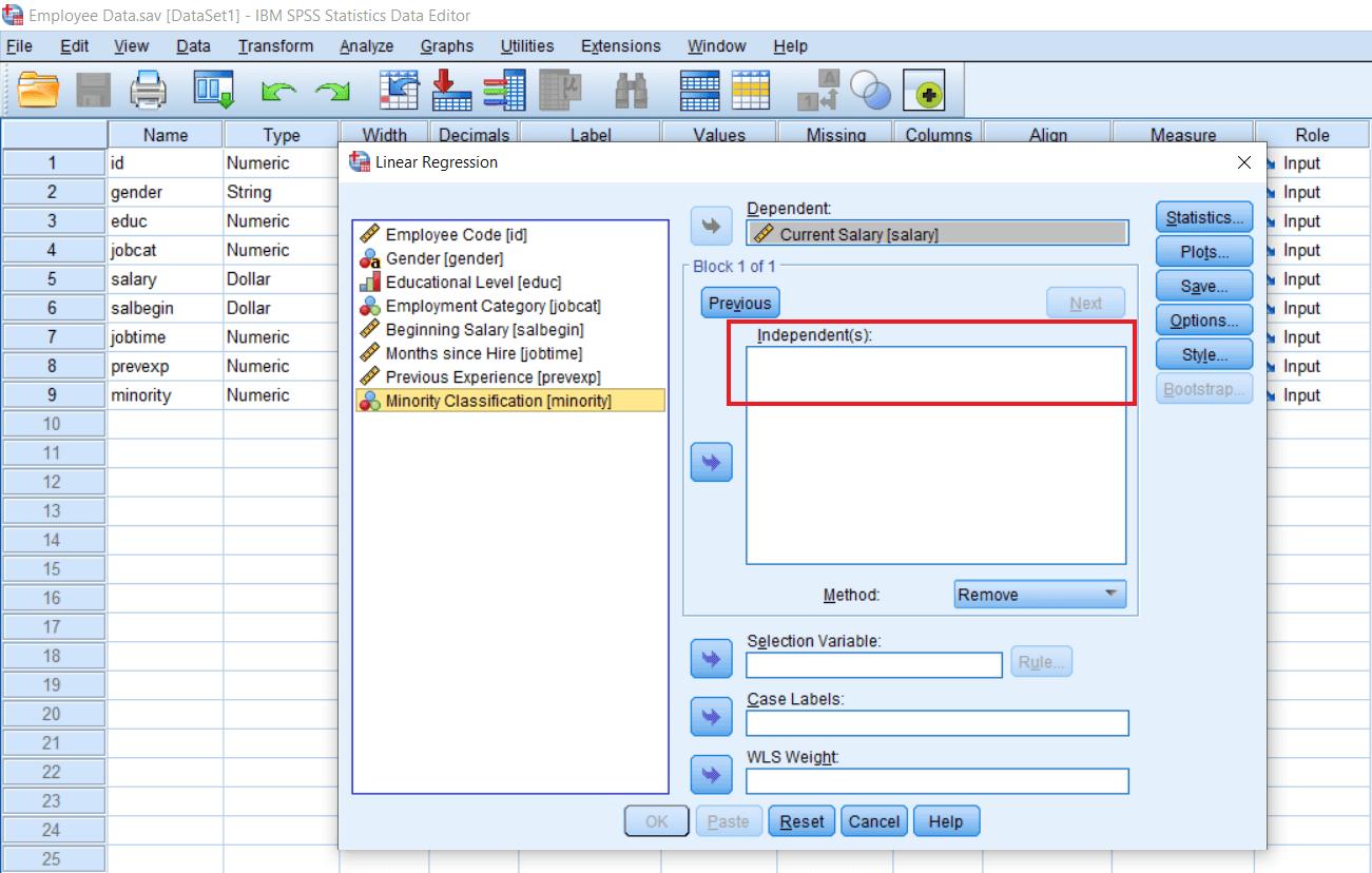 Remove method of Multiple Regression