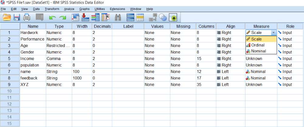 Scale of Measurement in SPSS