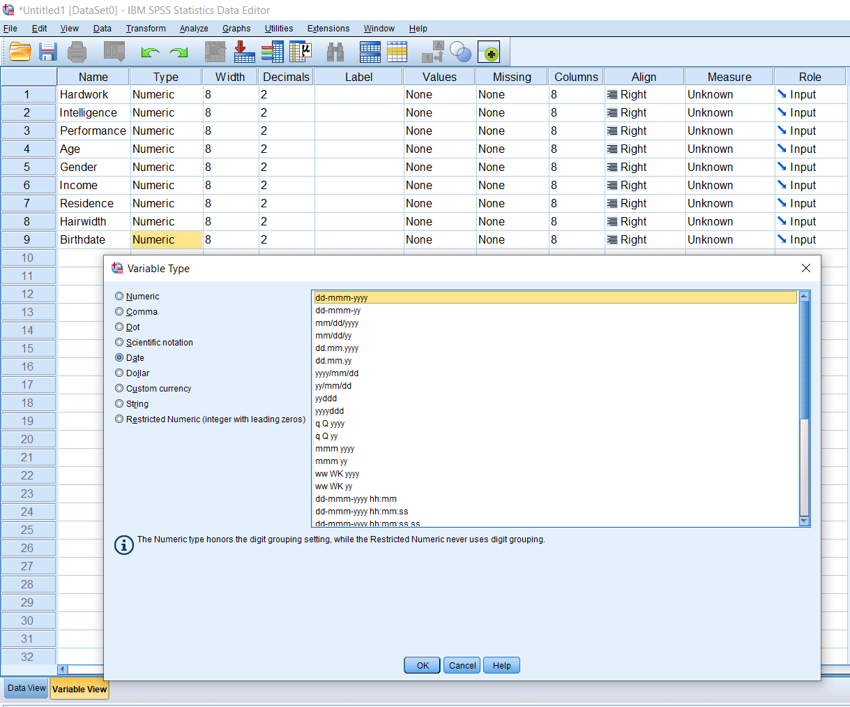 SPSS Date and Timestamps Variable
