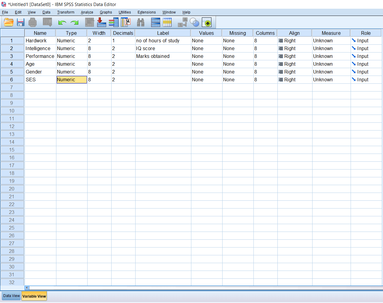 SPSS Numeric Variable