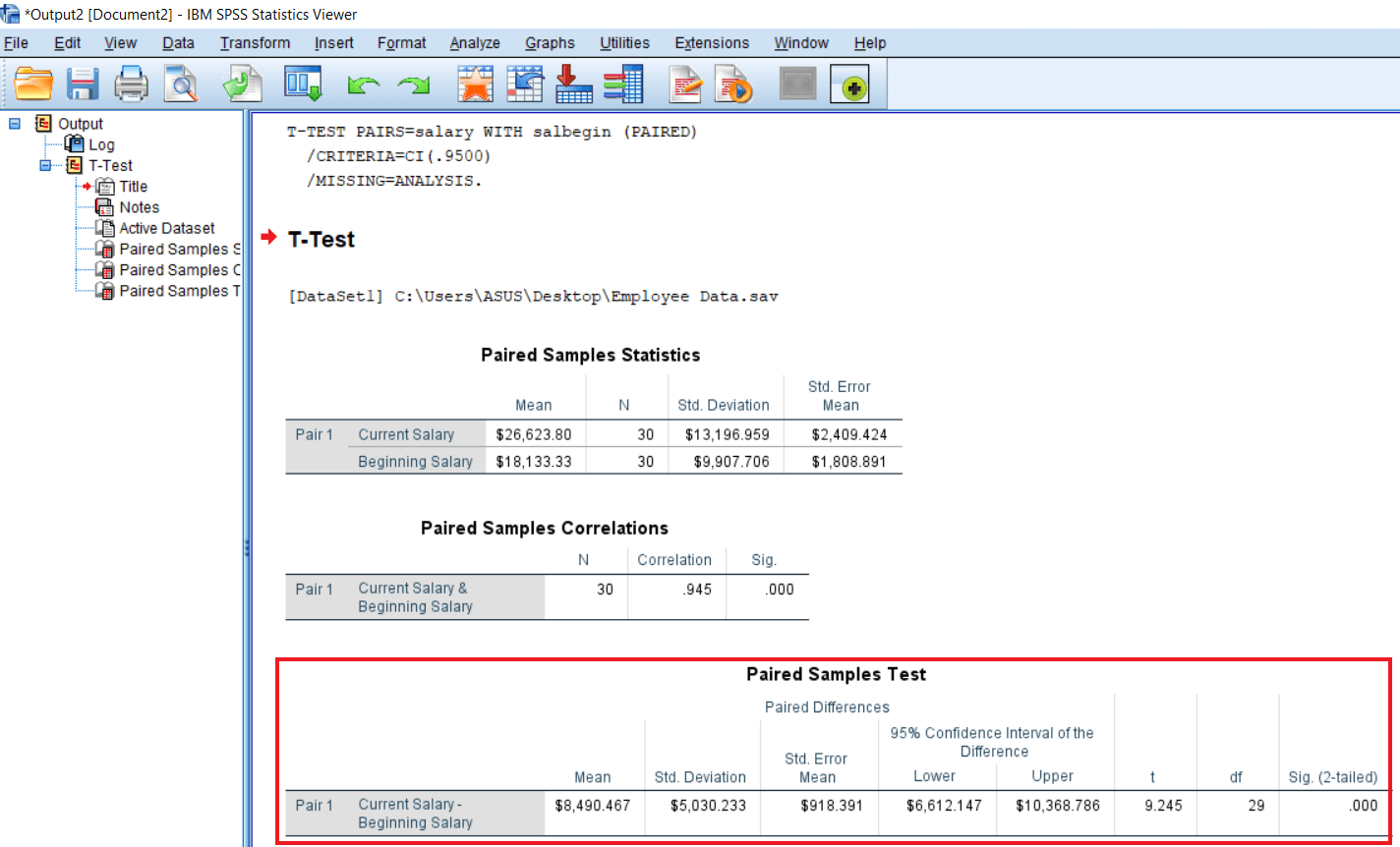 Output of Paired Sample T-test