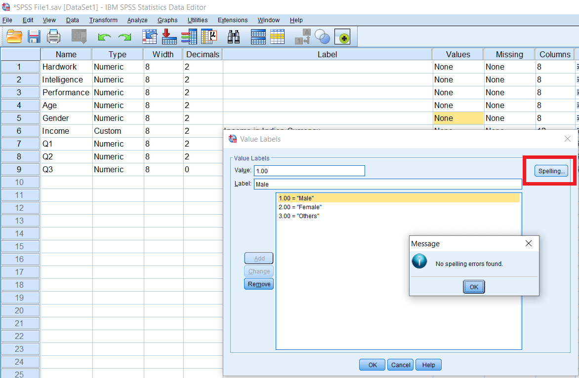 SPSS Value and Labels