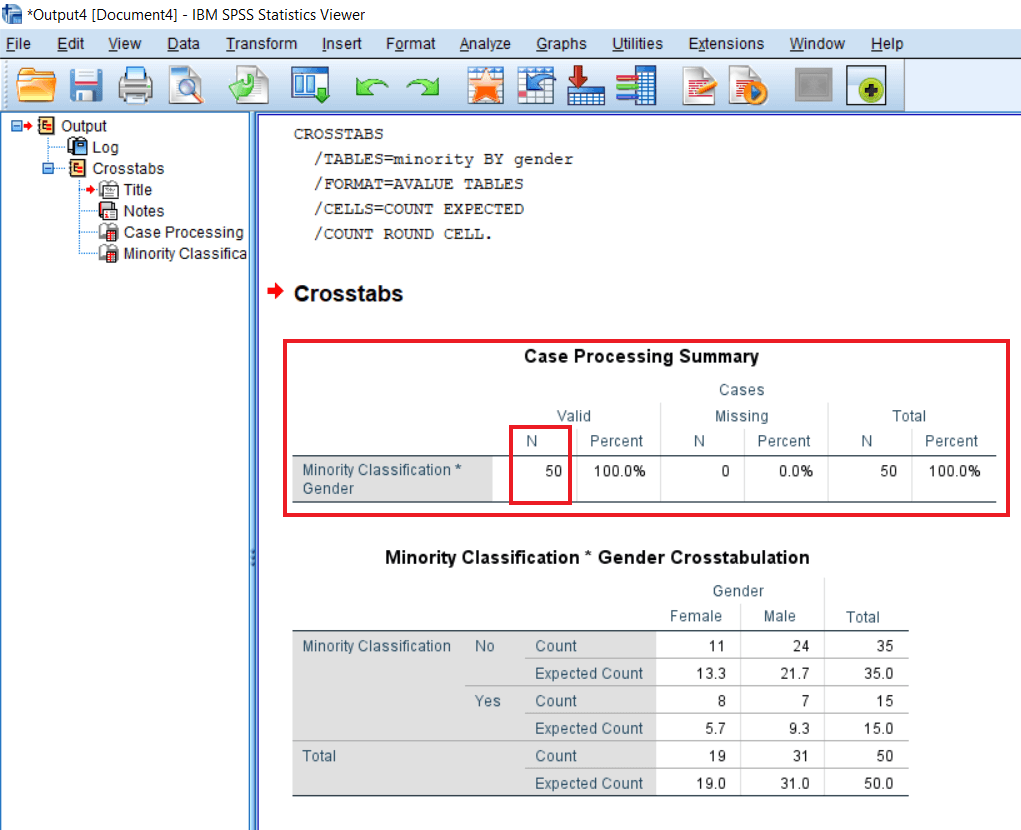 Testing assumptions of Chi-square test in SPSS