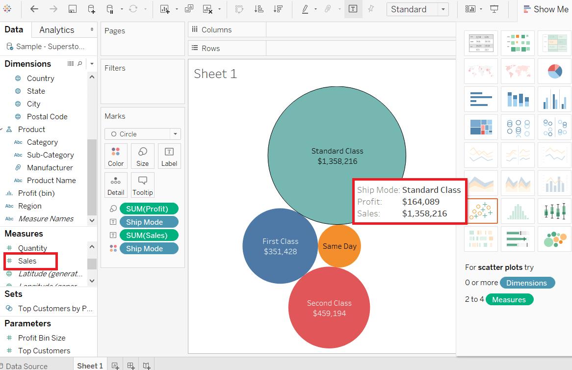 Tableau Bubble Chart