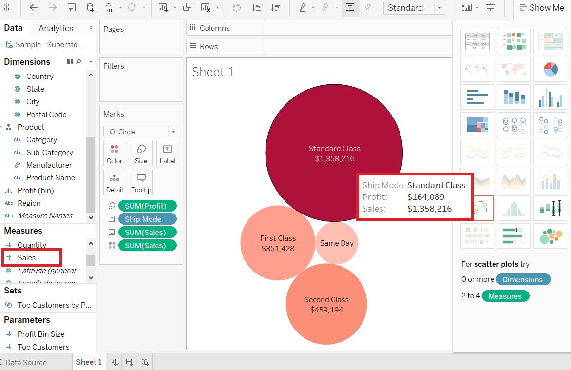 Tableau Bubble Chart - javatpoint