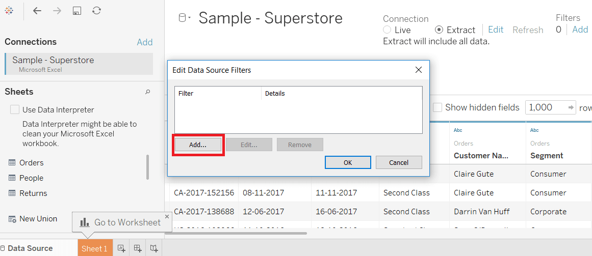 Tableau Data Source Filters