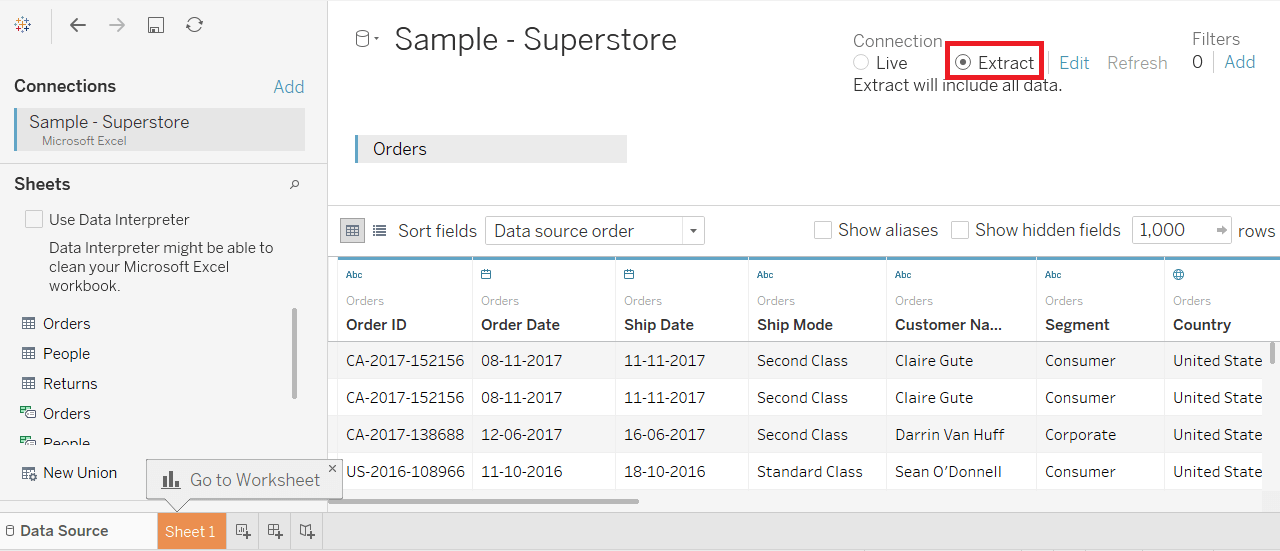 Tableau Extract Filters